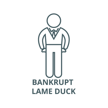 Bankrupt, lame duck line icon, vector. Bankrupt, lame duck outline sign, concept symbol, illustration Иллюстрация