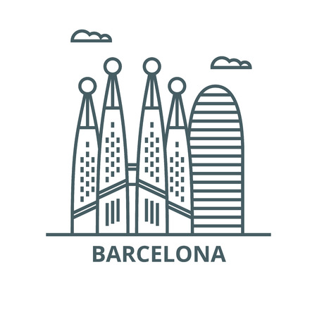 Barcelona line icon, vector. Barcelona outline sign, concept symbol, illustration
