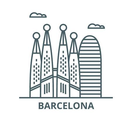 Icona della linea di Barcellona, vettore. Segno di contorno di Barcellona, simbolo di concetto, illustrazione Vettoriali