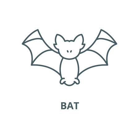Bat line icon, vector. Bat outline sign, concept symbol, illustration