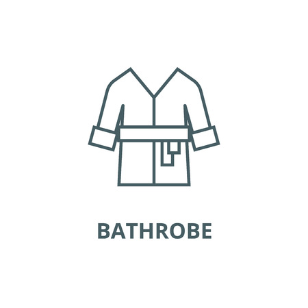 Bathrobe,spa, home line icon, vector. Bathrobe,spa, home outline sign, concept symbol, illustration Illustration