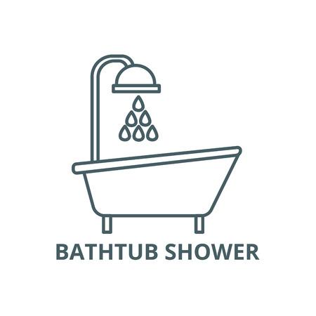Bathtub shower line icon, vector. Bathtub shower outline sign, concept symbol, illustration  イラスト・ベクター素材