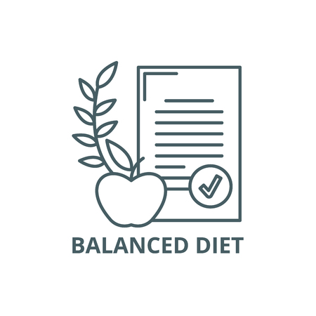 Balanced diet line icon, vector. Balanced diet outline sign, concept symbol, illustration