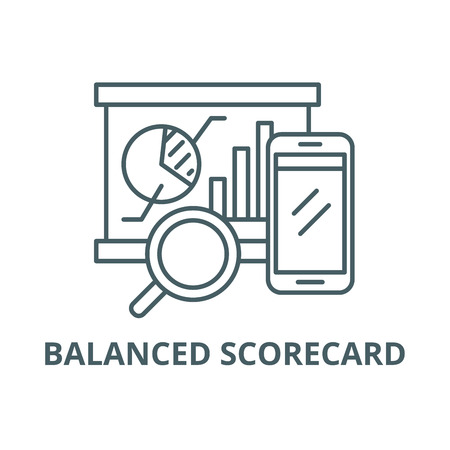 Balanced scorecard line icon, vector. Balanced scorecard outline sign, concept symbol, illustration