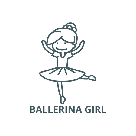 Ballerina girl,balet dancer line icon, vector. Ballerina girl,balet dancer outline sign, concept symbol, illustration Illustration