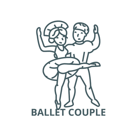 Ballet couple, dancing man and woman line icon, vector. Ballet couple, dancing man and woman outline sign, concept symbol, illustration Illustration