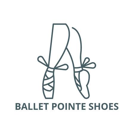 Ballet pointe shoes line icon, vector. Ballet pointe shoes outline sign, concept symbol, illustration Illustration