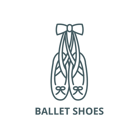 Ballet shoes line icon, vector. Ballet shoes outline sign, concept symbol, illustration