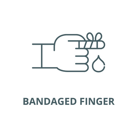 Bandaged finger line icon, vector. Bandaged finger outline sign, concept symbol, illustration