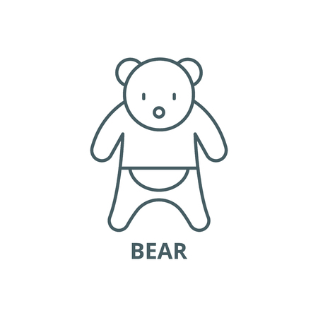 Bear line icon, vector. Bear outline sign, concept symbol, illustration