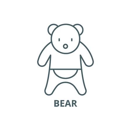 Icono de línea de oso, vector. Signo de contorno de oso, símbolo conceptual, Ilustración