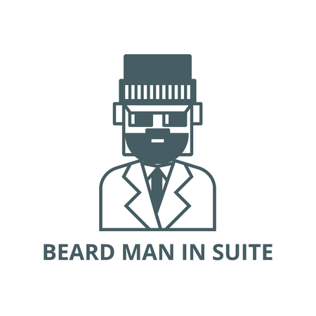 Beard man in suite line icon, vector. Beard man in suite outline sign, concept symbol, illustration