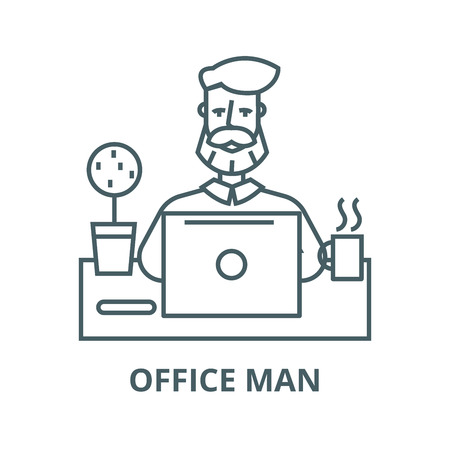 Beard man working on table with notebook line icon, vector. Beard man working on table with notebook outline sign, concept symbol, illustration