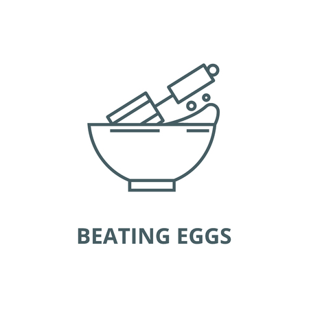 Beating eggs line icon, vector. Beating eggs outline sign, concept symbol, illustration Illustration