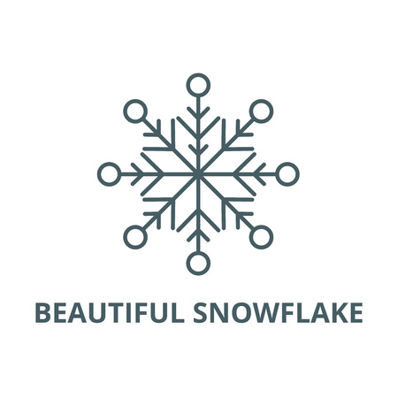 Beautiful snowflake line icon, vector. Beautiful snowflake outline sign, concept symbol, illustration
