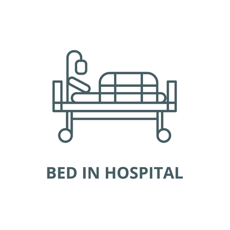 Bed in hospital line icon, vector. Bed in hospital outline sign, concept symbol, illustration