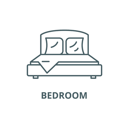 Bedroom line icon, vector. Bedroom outline sign, concept symbol, illustration Illustration