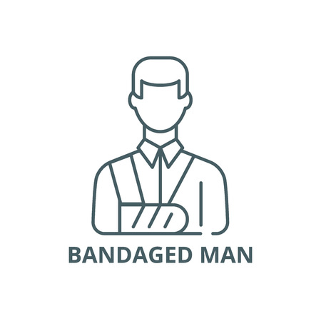 Bandaged man line icon, vector. Bandaged man outline sign, concept symbol, illustration 일러스트