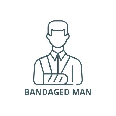 Bandaged man line icon, vector. Bandaged man outline sign, concept symbol, illustration Illustration