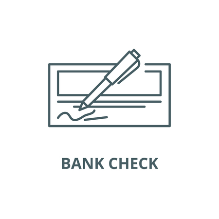 Bank check line icon, vector. Bank check outline sign, concept symbol, illustration