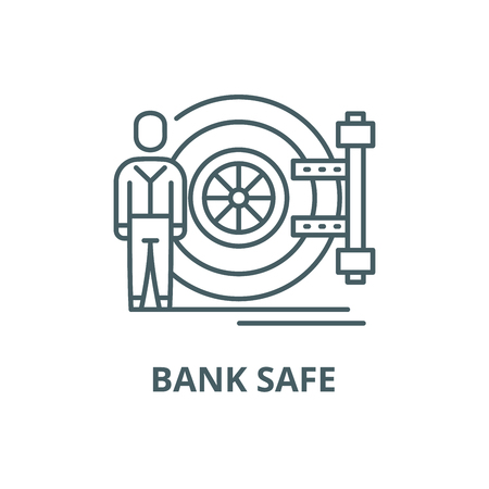 Bank safe line icon, vector. Bank safe outline sign, concept symbol, illustration