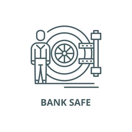 Bank safe line icon, vector. Bank safe outline sign, concept symbol, illustration