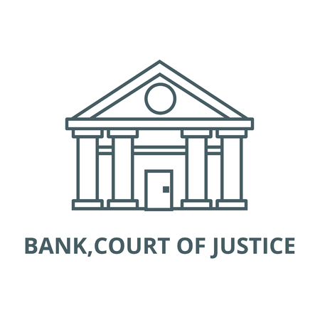 Bank,court of justice line icon, vector. Bank,court of justice outline sign, concept symbol, illustration Ilustrace