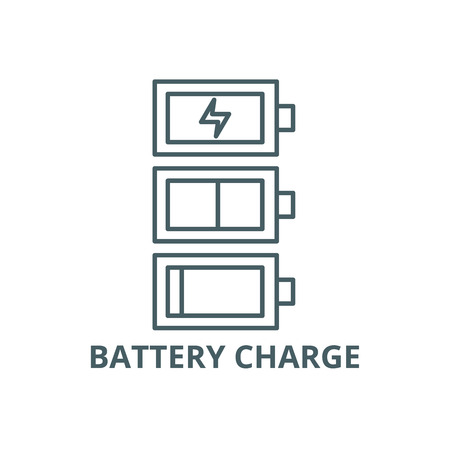 Battery charge line icon, vector. Battery charge outline sign, concept symbol, illustration