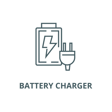 Battery charger line icon, vector. Battery charger outline sign, concept symbol, illustration