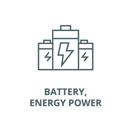Battery,energy power line icon, vector. Battery,energy power outline sign, concept symbol, illustration