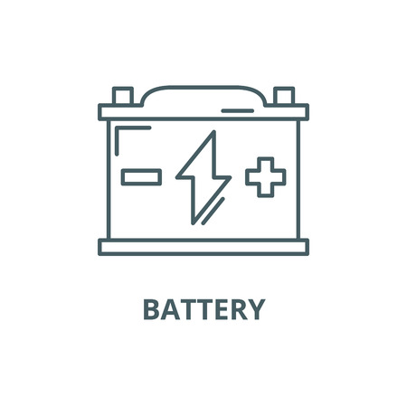 Battery line icon, vector. Battery outline sign, concept symbol, illustration