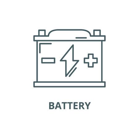 Icône de ligne de batterie, vecteur. Signe de contour de batterie, symbole de concept, illustration