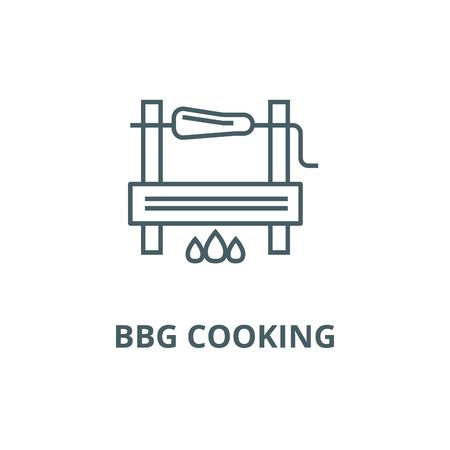 Bbg cooking line icon, vector. Bbg cooking outline sign, concept symbol, illustration