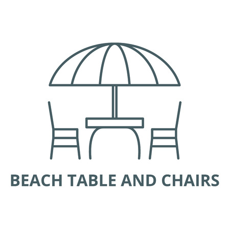 Beach table and chairs line icon, vector. Beach table and chairs outline sign, concept symbol, illustration