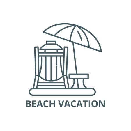 Icône de ligne de vacances à la plage, vecteur. Signe de contour de vacances à la plage, symbole de concept, illustration