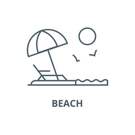Beach line icon, vector. Beach outline sign, concept symbol, illustration