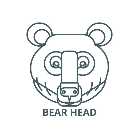 Bear head line icon, vector. Bear head outline sign, concept symbol, illustration