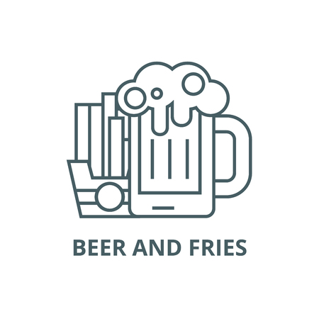 Beer and fries line icon, vector. Beer and fries outline sign, concept symbol, illustration