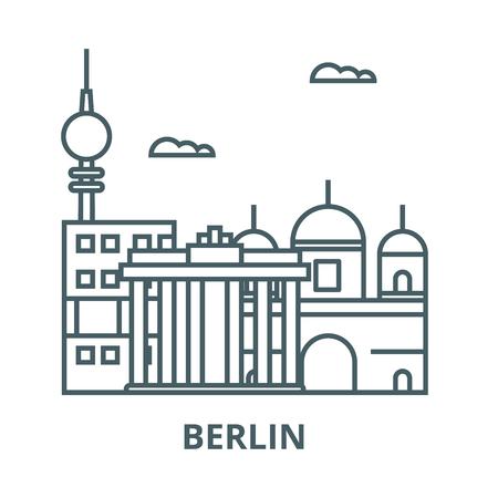 Berlin line icon, vector. Berlin outline sign, concept symbol, illustration