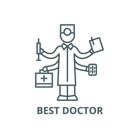 Best doctor line icon, vector. Best doctor outline sign, concept symbol, illustration Illustration