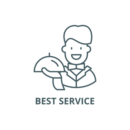 Best service line icon, vector. Best service outline sign, concept symbol, illustration Archivio Fotografico - 123790011