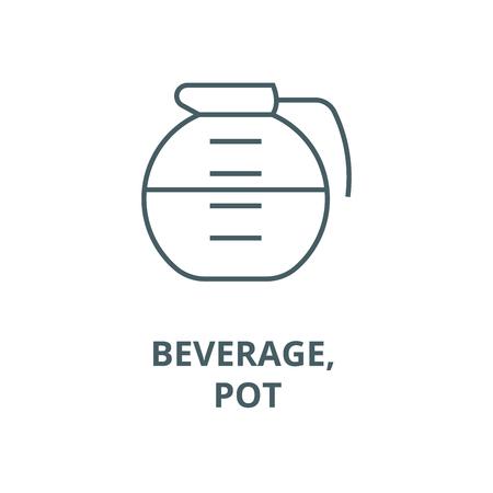 Beverage, drinks, pot line icon, vector. Beverage, drinks, pot outline sign, concept symbol, illustration
