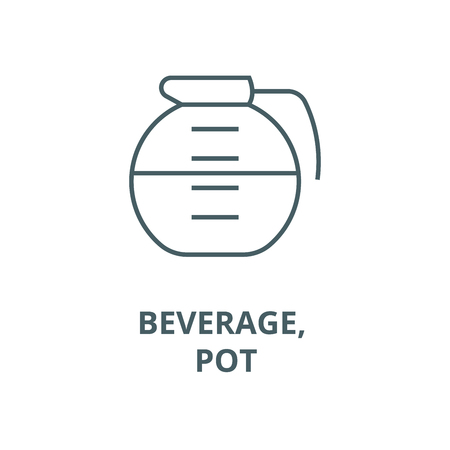 Beverage, drinks, pot line icon, vector. Beverage, drinks, pot outline sign, concept symbol, illustration