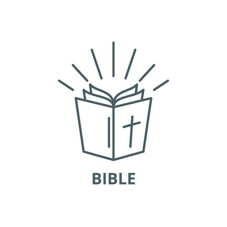 Icono de línea de Biblia, vector. Signo de esquema de Biblia, símbolo conceptual, Ilustración Ilustración de vector