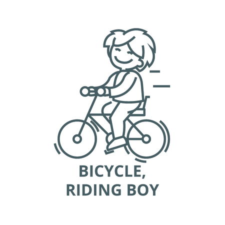Bicycle, riding boy line icon, vector. Bicycle, riding boy outline sign, concept symbol, illustration