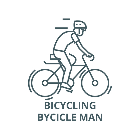 Bicycling,bycicle man line icon, vector. Bicycling,bycicle man outline sign, concept symbol, illustration Illustration