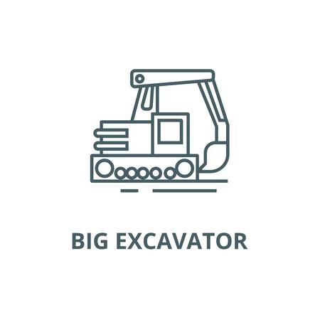 Big excavator line icon, vector. Big excavator outline sign, concept symbol, illustration Illustration