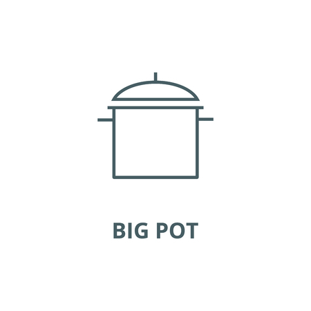 Big pot line icon, vector. Big pot outline sign, concept symbol, illustration