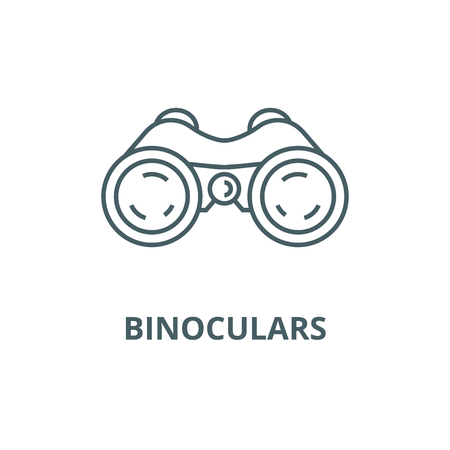 Binoculars,periscope,vision line icon, vector. Binoculars,periscope,vision outline sign, concept symbol, illustration Vettoriali