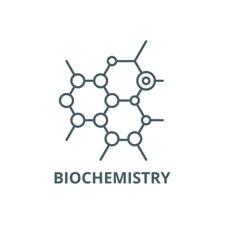 Biochemistry line icon, vector. Biochemistry outline sign, concept symbol, illustration